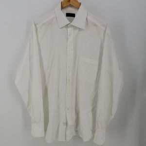 Canali Mens Italian White Dress Shirt Size 43/17
